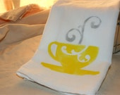 Teacup Dish Towel / Coffee Cup Kitchen Towel/ Custom Flour Sack Towel