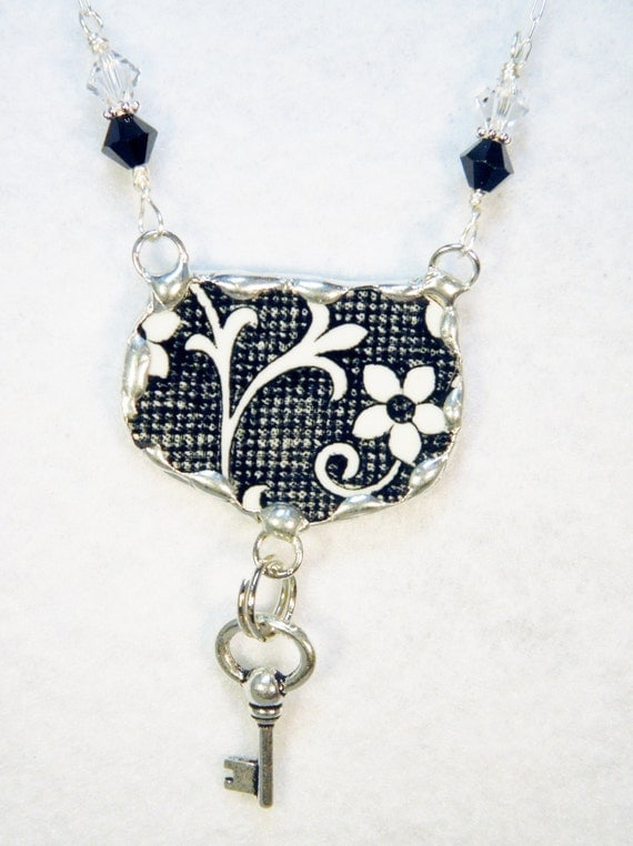 Broken China Jewelry Pendant Necklace Black and White Floral with Key Charm Sterling Silver Chain Included
