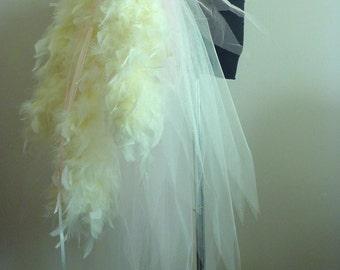 Burlesque Feather Bustle Belt Ivory Pink size 6 -12 Bridal