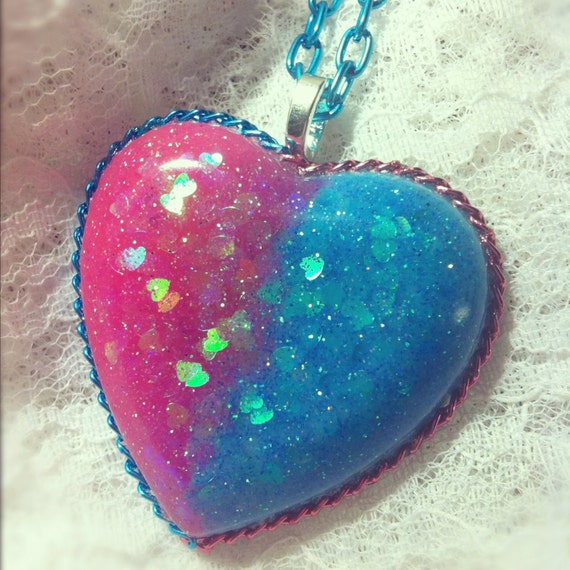 Sweet Tart Glitter Pink and Blue  Resin Heart Necklace