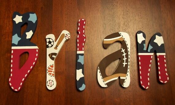 Wooden Nursery Letters Sports Theme