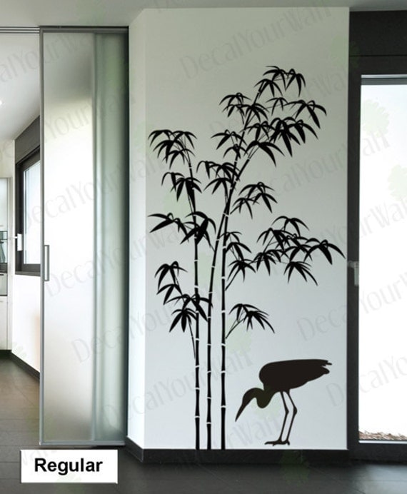 Wall Decor Stickers Penang : Tree wall decal bamboo large sticker bird decals japanese