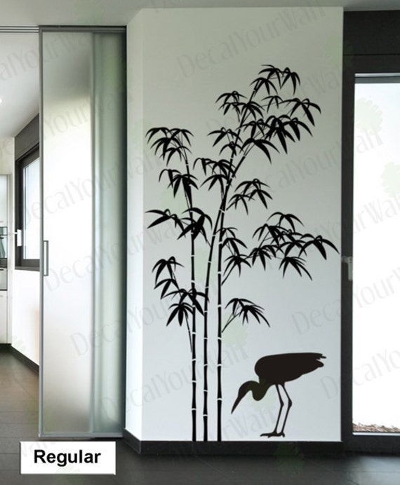 Tree Wall Decal Bamboo Large Tree Sticker Bird Decals Japanese - Japanese wall decals