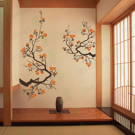 Cherry Blossom Wall Decal Large Tree Branch Japanese Wall Art Stickers Flower Nursery Living room Bedroom Office Yoga Room Home Decor Size 3