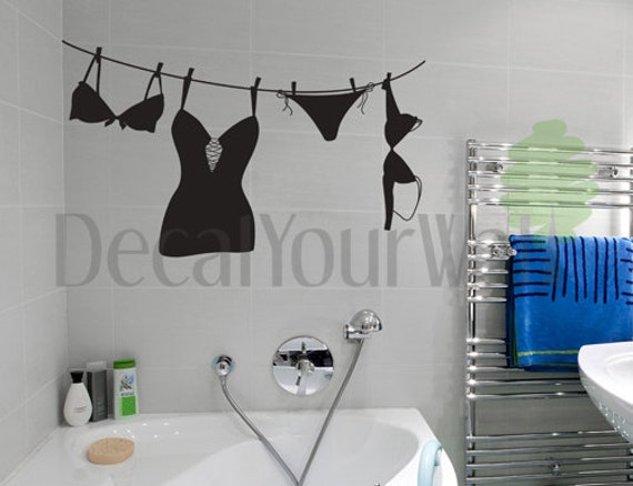 Bathroom Wall Decal Laundry Room Girl's Girl Underwear Removable Stickers Vinyl Wall Decor Sticker Wall Art Home Decor Bedroom