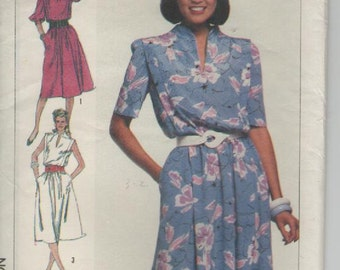 """ON SALE - 1980s Simplicity Sewing Pattern No 7446  for Womens Pullover Dress Size 14  Bust 36"""" UnCut Factory Folded"""
