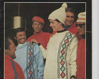 ON SALE - Ski Knits Villawool, Knitting Pattern Book No 7 Vintage 1970s