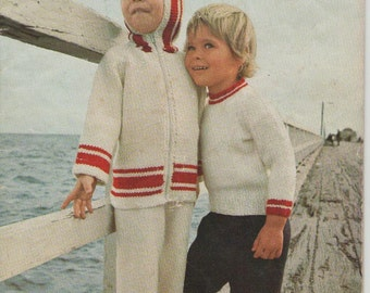 ON SALE - Quick Thick Knits for Toddlers in Jet, Skol & Totem Vintage 1970s - Knitting Pattern No 901