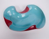 Red Wing Pottery Bowl Free Form 1304 Teal Maroon Console Centerpiece Ashtray