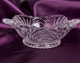 Vintage Cambridge Glass Crystal Square Bowl Candy Dish Caprice Pattern Trinket Holder Scalloped Hobnail