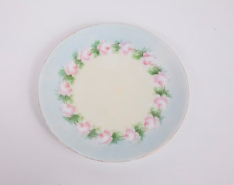 Vintage German Rose Plate Silesia Plate Germany Hand Painted Pink Roses Rimmed in Gold 1920s Plate
