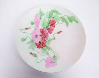 Vintage Thomas Bavaria Dessert Plate Pink Floral Hand Painted 10 Inches