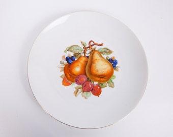 Vintage Bavaria Plate Bareuther Waldsassen Fruit Design Made in Germany Hand Painted Gold Rim