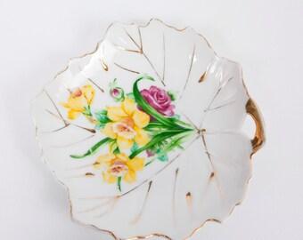 Vintage Floral Leaf Shaped Tea Bag Plate Japan Gold Trim Porcelain Hand Painted Lemon Wedge Plate