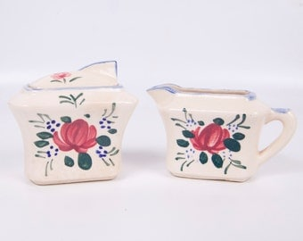 Vintage Hand Painted Roses Cream and Sugar Made in Japan Maroon Green Blue
