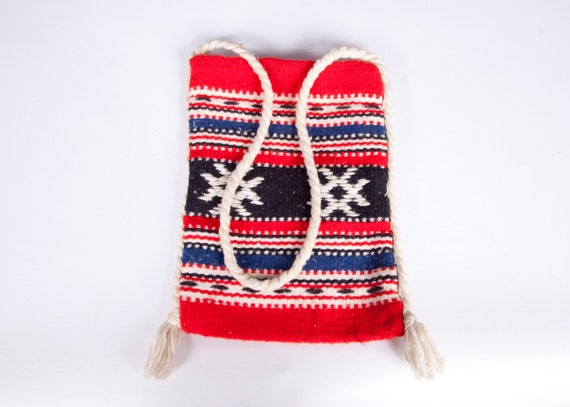 RESERVED for Andreea Vintage Woven Purse Red White Blue Bag Pouch Hand Bag Fringed Nautical Colors