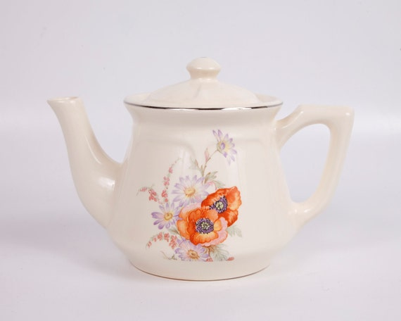 Vintage Orange Poppy Teapot 1940s Universal Cambridge Potteries