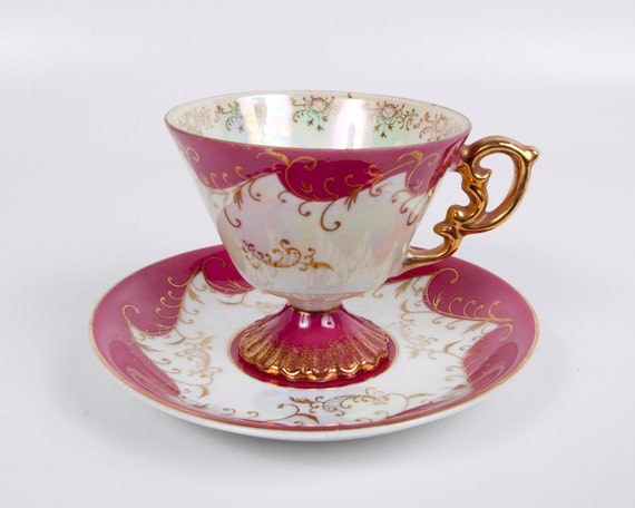 RESERVED for Kathryn Vintage Footed Iridescent Teacup Maroon Gold Made in Japan Pedestal Hand Painted Ornate Gold Handle