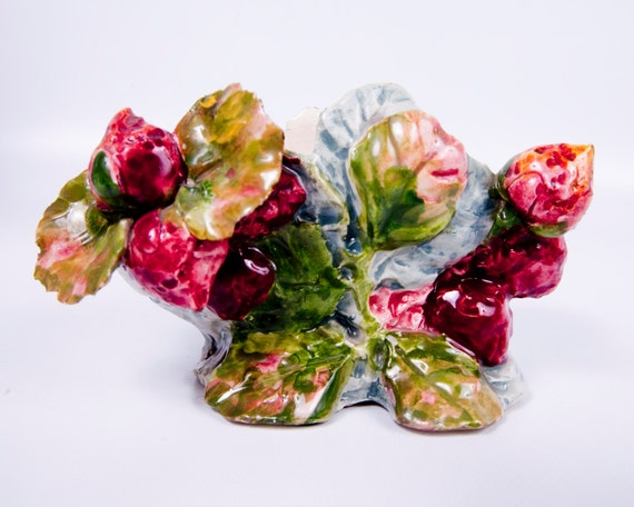 Vintage Italian Pottery Applied Peonies Planter Maroon Green Pink