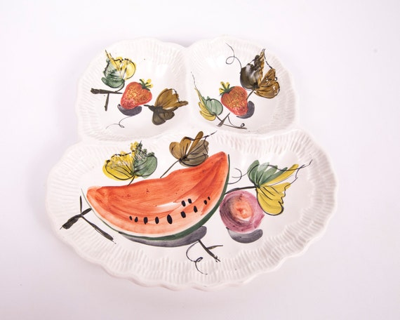 Vintage Divided Platter Italian Tray Hand Painted Fruit Design Section Serving Dish