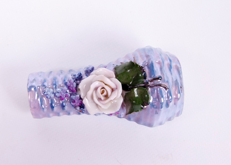 Vintage German Bud Vase Iridescent Porcelain Applied Flowers