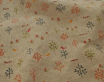 Half yard Cotton Linen Fabric,Craft, WildFlower,Tree,Printing,Pattern,Vintage Style,diy,Sewing (C213)