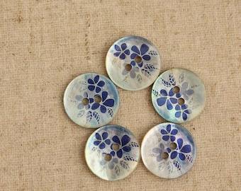 Shell Bottons Set,Natural Texture,Blue,Flower Print,15mm Diameter,Round shape-(4 in a set)(GN37)