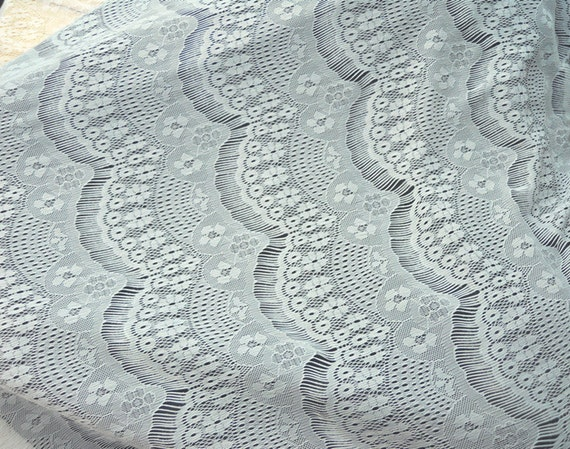 1 metre White eyelashes paragraph clothing lace fabric, Embroidery,Wedding,White Color,Polyester Mesh,Cotton stretch fabric (W10)