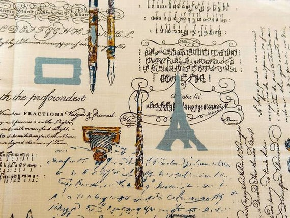 Half Yard Cotton Linen Fabric for craft, Eiffel Tower,Vintage Pen,Ink,Stamp,Classical English Text,Pattern,3 Color For Choice,fabric  (QT11)