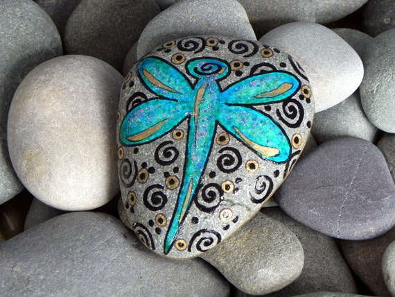 Dragonfly Blessings / Painted Rock / Sandi Pike Foundas