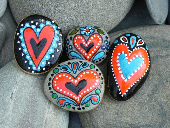 folk tale heart magnets stone magnets sandi by lovefromcapecod. Black Bedroom Furniture Sets. Home Design Ideas