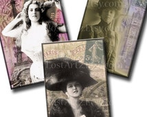 INSTANT Download Women of Paris Vintage Postcards Digital Collage Sheet ACEO ATC 2.5 x 3.5 inch Altered Art Jewelry Holders no.77