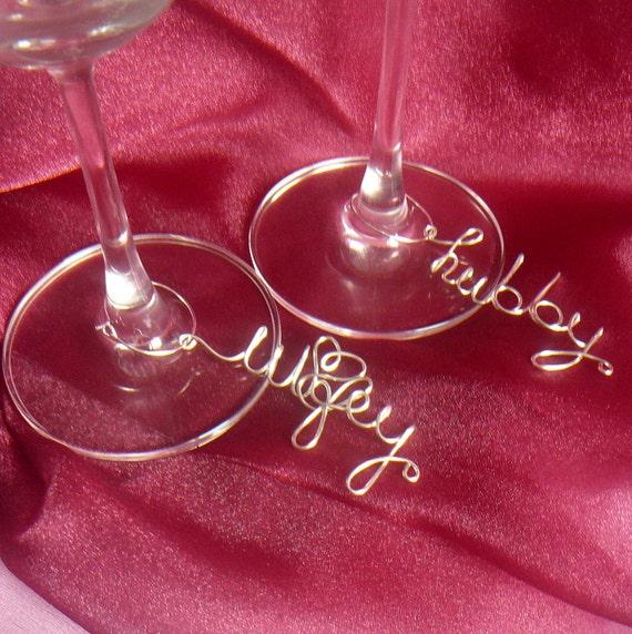 Wedding Decor, Hubby Wifey Wine Charms, Set of 2, Non Tarnish