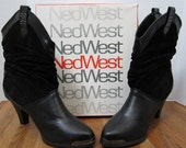 Ned West Slouch Boots  Black Suede and Leather Sexy High Heel c 80's