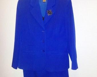 NORDSTROM Classique Collection 100% Wool Electric Blue Suit  c1990