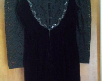 Scott McClintock Black Velvet and Lace Dress c.1980