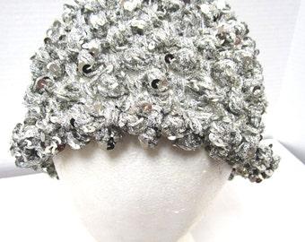 Silver Sequined Beret Hat Vintage 1970