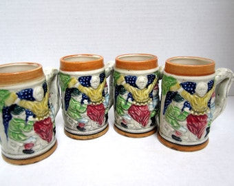 Vintage Four Minature Beer Mugs Made in Japan Collectible c.1970