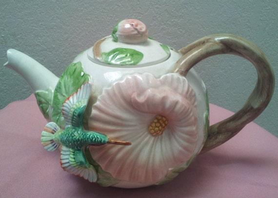 On Hold for Elisabeth  Vintage Fitz & Floyd Hummingbird Tea Pot c1980