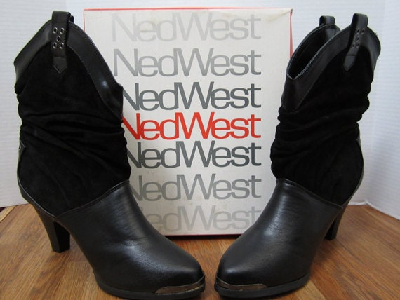 ned west slouch boots black suede and leather by myabbiesattic