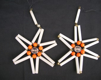 Pair of Czech Bohemian Beaded Christmas Ornaments White and Orange Set of 2 Stars
