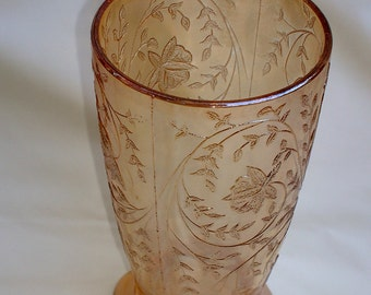 Floragold Jeannette Glass Company Drinking Glass Cup Iridescent Carnival Glass