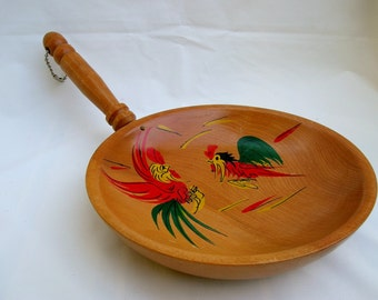 Wooden Bowl with Colorful Chickens Wall Hanging with Handle
