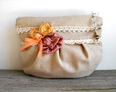 Handmade cottage chic zipper bag / stone beige linen / yellow dupioni silk / dusty pink / vintage lace / cotton print / for her