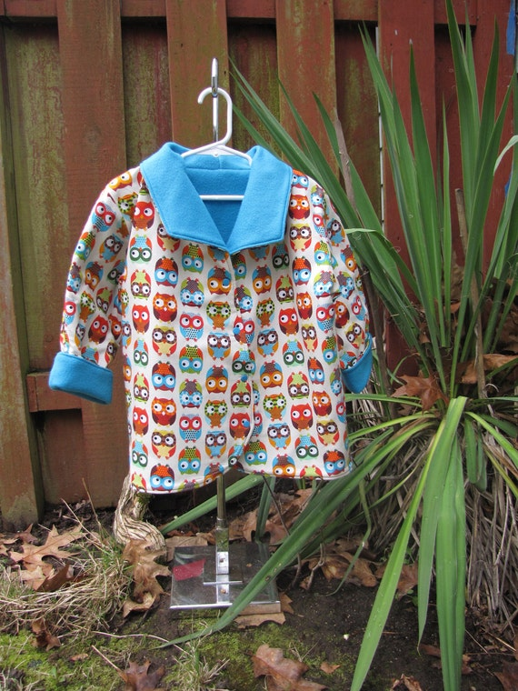 CLOSEOUT SALE Fleece Jacket- Girl's Size 4 Reversible Fleece Owl Jacket