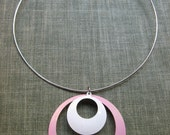 Mod Necklace Enamel Jewelry Pink & White Choker Necklace Neck Ring