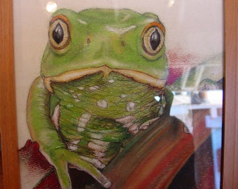 Wall art Original FROG  Modern FRAMED Pastel drawing on canson paper 7 3/4 x 9 1/2 painting