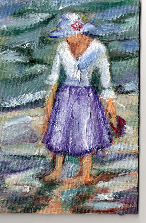 ORIGINAL woman with hat by the beach OSWOA original small works of art acrylic 6x4 mother's day