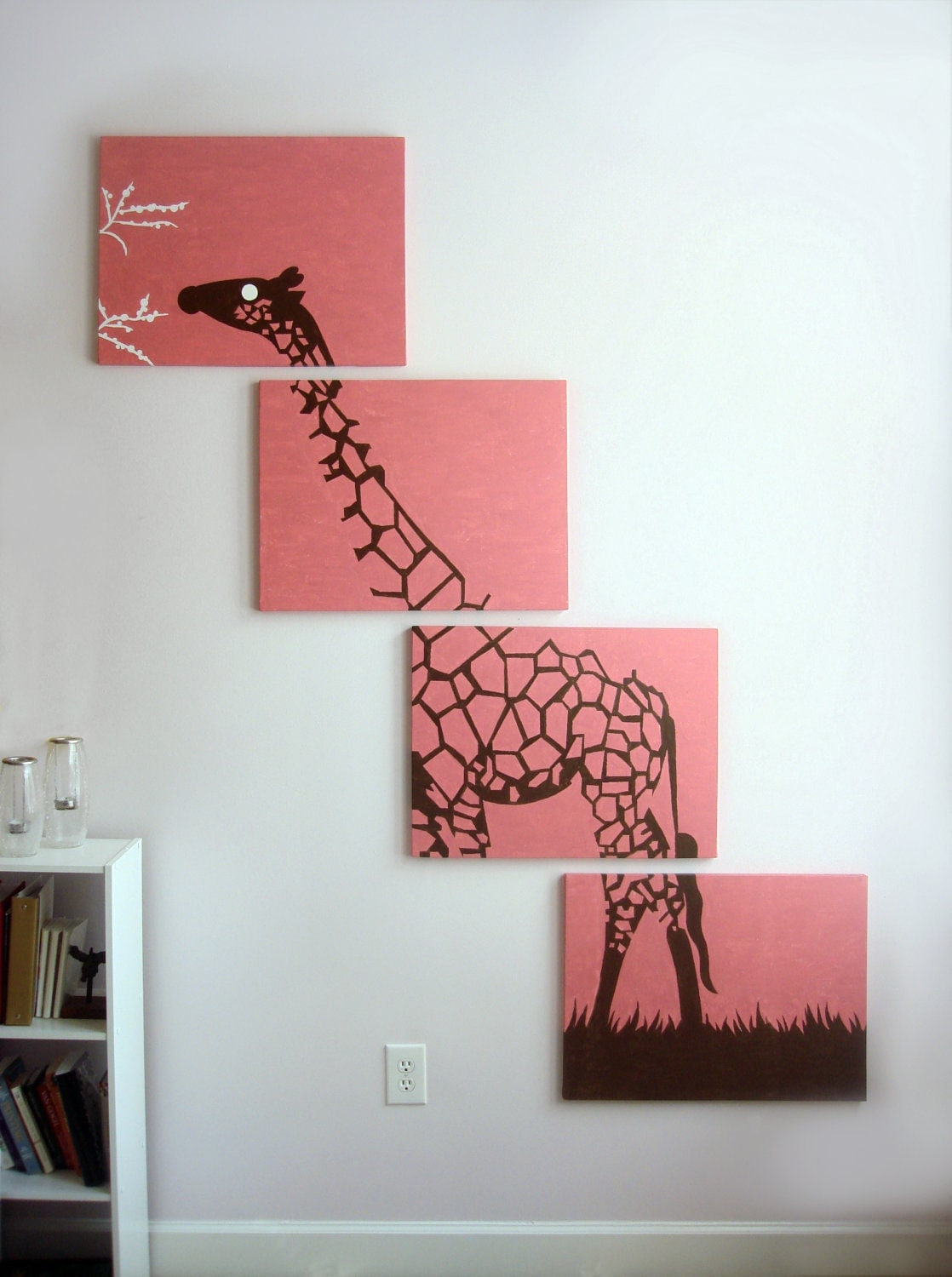 Giraffe canvas print pink giraffe art nursery decor baby for Pink wall art