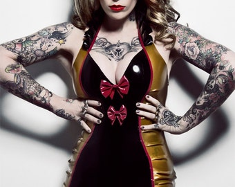 Latex Voodoo Tiki Mini Halter Dress